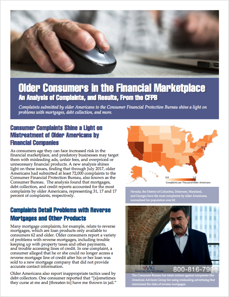 Fact Sheet Older Consumers In The Financial Marketplace Us Pirg