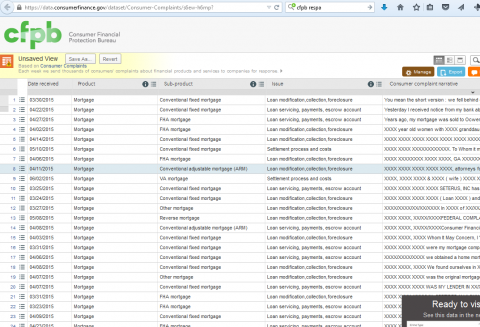 Screenshot of complaints in database